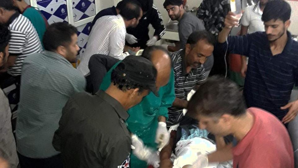 Injured being treated in a hospital after terrorists opened fire on the pilgrims travelling from Amarnath to Jammu on Monday.