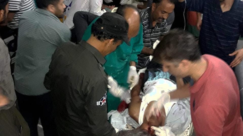 Injured being treated in a hospital after terrorists opened fire on the Amarnath Yatra in Anantnag in Jammu and Kashmir on Monday.