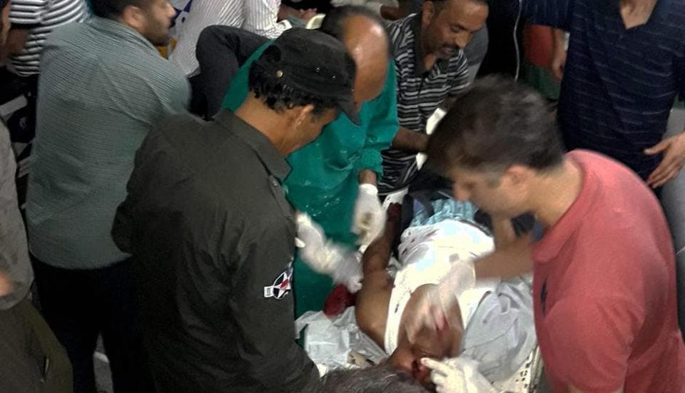 The injured people being treated in a hospital after militants opened fire on pilgrims of the Amarnath Yatra on Monday.