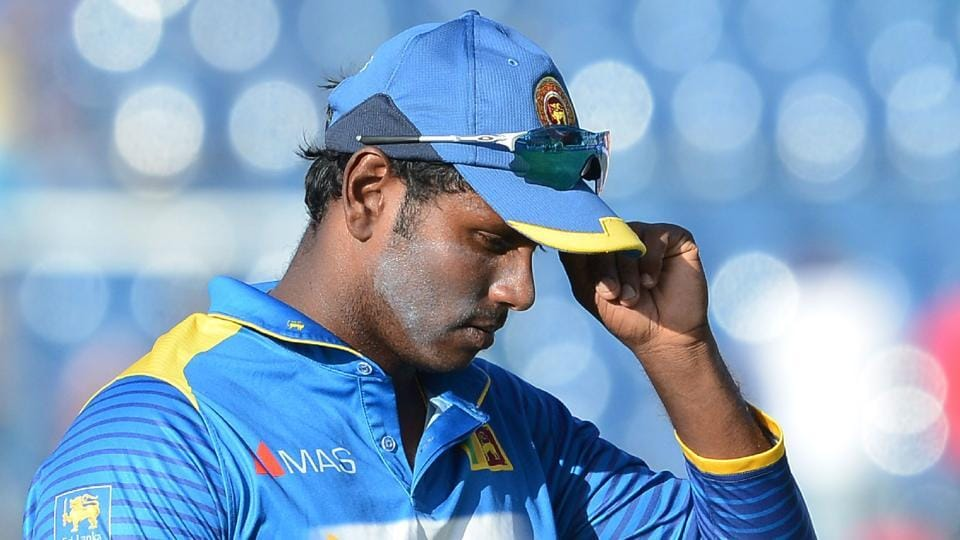 Sri Lanka captain Angelo Mathews leaves the ground after Zimbabwe's victory in the fifth One-Day International (ODI)  in Hambantota on July 10.