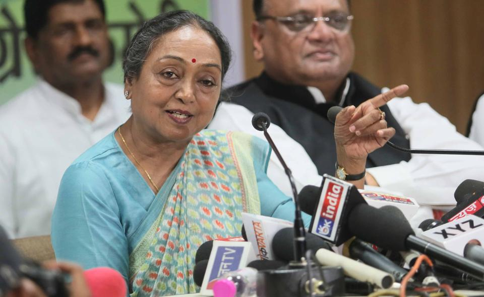 Opposition parties' presidential nominee Meira Kumar interacts with media persons in Jaipur on July 11.