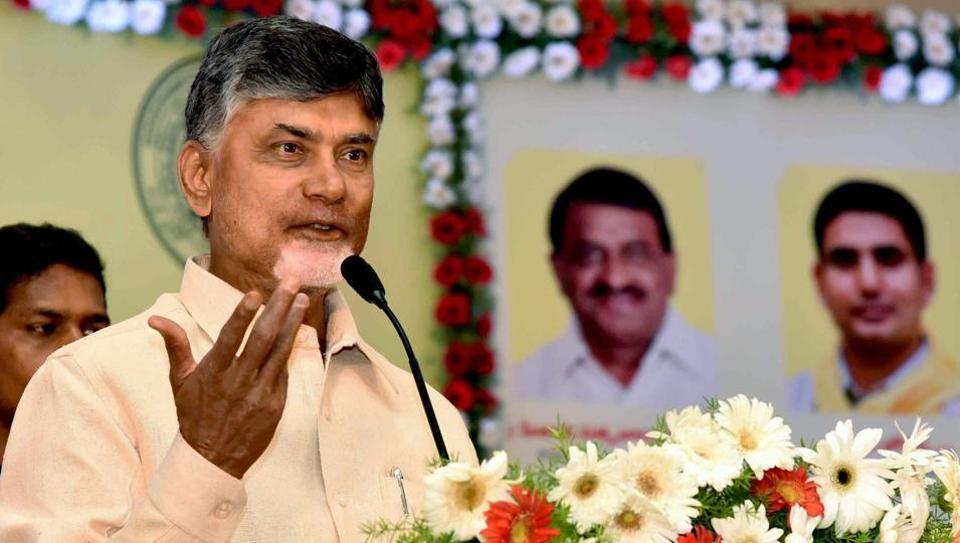 Andhra Pradesh CM  Chandrababu Naidu at a function in Vijayawada.