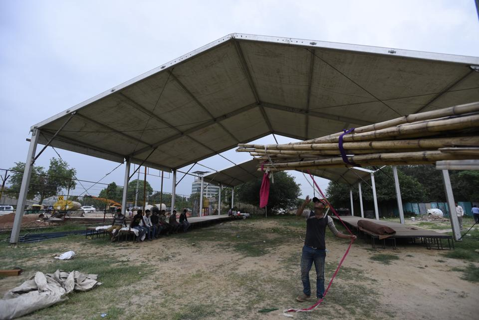 Shelters being built for the Kanwar yatris in Gurgaon.