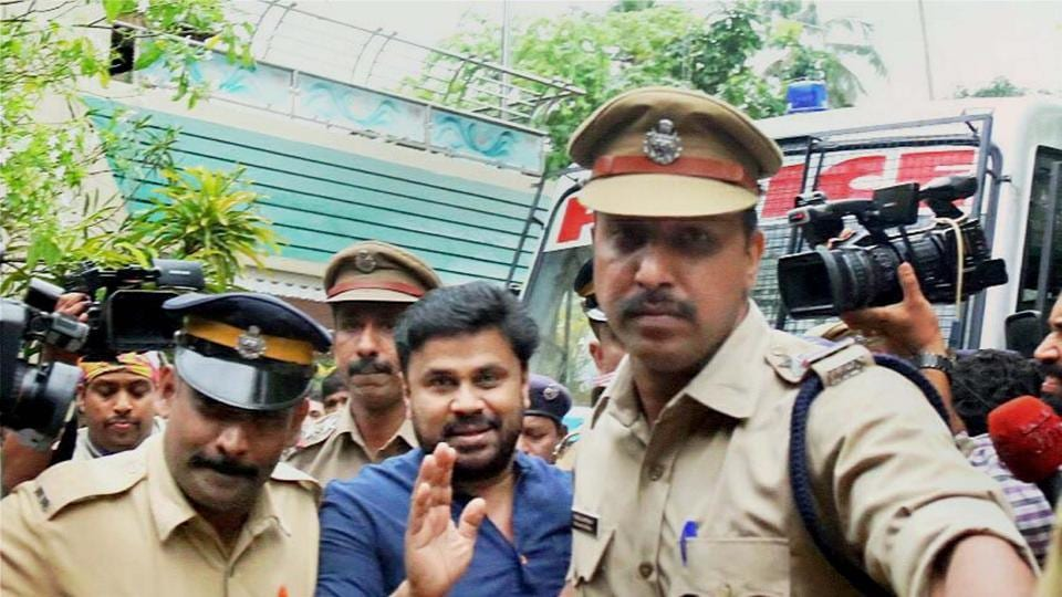 Malayalam actor Dileep, who was arrested in connection with the abduction and assault case of a South Indian actress, being produced before the Magistrate court which sent him to 14 days judicial custody, in Kochi.