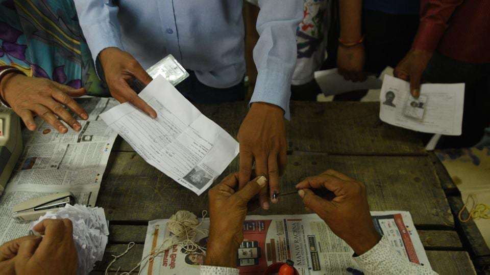 A voter gets his finger inked at a polling station in Kalyanpuri, Delhi. (File Photo)