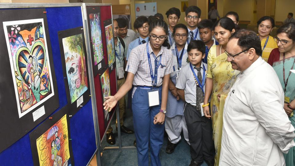 Union Minister of Health and Family Welfare J P Nadda and MoS for Health and Family Welfare Anupriya Patel visit to a students' painting exhibition on World Population Day