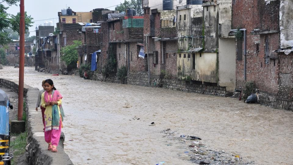 Water level has increased in Rispana river following rains in surrounding areas.
