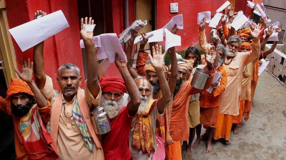 Sadhus lined up at Amarnath base camp to register for the annual pilgrimage to Holy Cave Shrine in Jammu. (PTI)