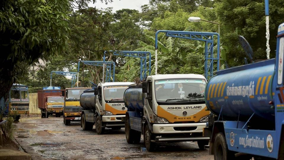 Water tankers parked at a Metro water filling station in Chennai. In many areas, piped water is being supplied only once in three days.  (R Senthil Kumar/ PTI)