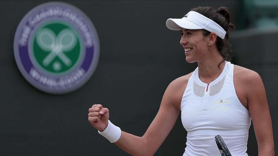 Garbine Muguruza reacts after her 6-3, 6-4 win over Svetlana Kuznetsova.