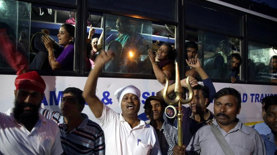 File photograph the first batch of pilgrims leaving for Amarnath Yatra from Jammu on June 28,.