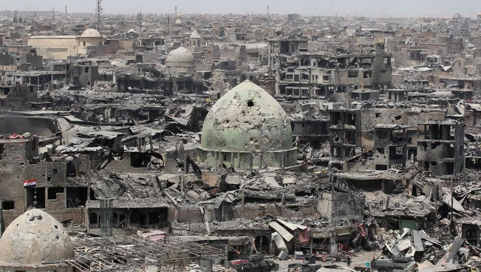 A general view of the destruction in Mosul's Old City. The European Union on Sunday hailed the defeat of the Islamic State group in Mosul as a 'decisive step' in fighting terrorism but called on Iraqis to work together to improve their country. (AFP)