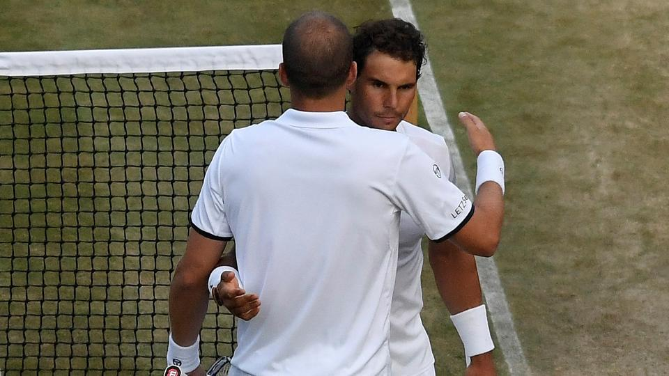 Gills Muller (L) defeated Rafael Nadal 6-3, 6-4, 3-6, 4-6, 15-13 in their fourth round match at Wimbledon on Monday. Watch video highlights of Rafael Nadal vs Gilles Muller, Wimbledon 2017 Round 4 match here.