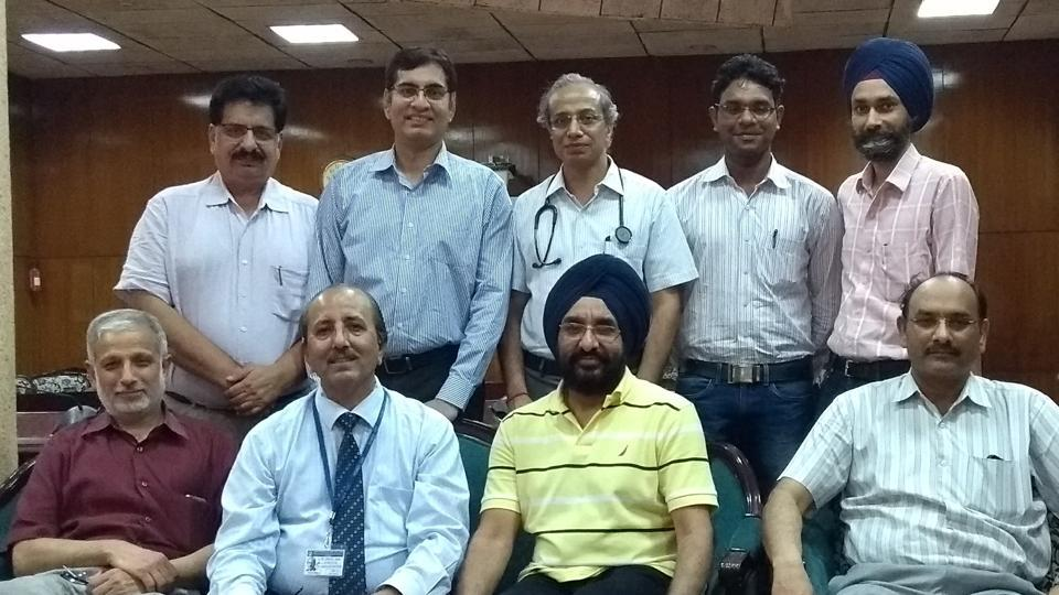 A team of  doctors who performed the organ transplant, along with PGIMER director Dr Jagat Ram (sitting second from left), in Chandigarh on Tuesday.