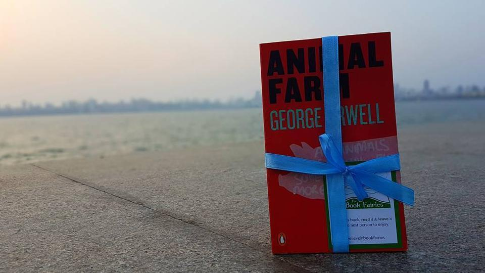 Book fairy Kadambari Mehta hid a copy of George Orwell's Animal Farm at Nariman Point on May 5.