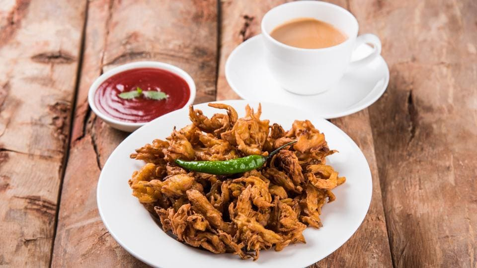 Chai with hot pakodas is a popular snack during the rains all over India.