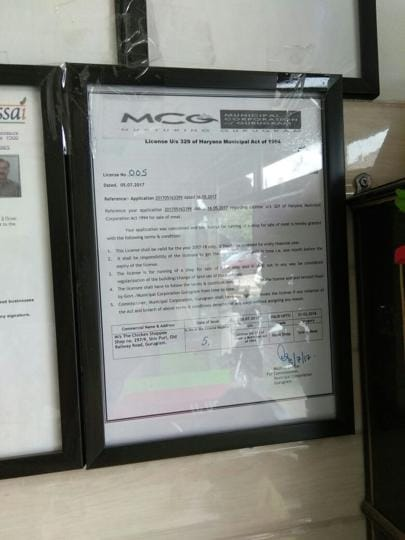 The licence issued by the MCG at a meat shop in Gurgaon.