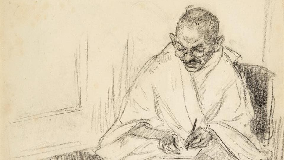 The pencil portrait was drawn by artist John Henry Amshewitz when Gandhi was in London for the 1931 Round Table Conference.