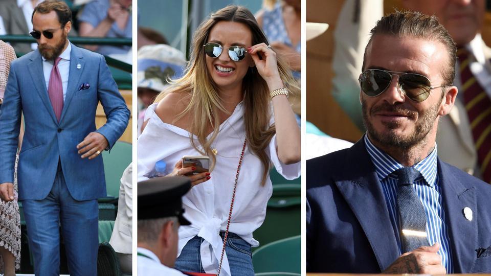 James Middleton, Ester Berdych Satorova and David Beckham snapped at Wimbledon 2017.