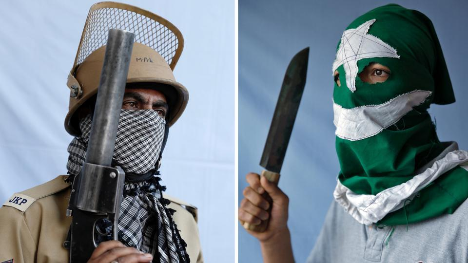 This composite picture shows a 47-year-old police officer (L), and a 19-year-old student and stone pelter, who spoke on condition of  anonymity, posing for portraits in Kashmir, India. The police officer explained, 'I've been in crowd control since 2008. First we chase the stone pelters. We fire tear gas only when the crowd gets out of control.' The protester justified his actions, saying, 'My parents tell me not to do stone pelting but I do, as we want freedom from India. I was hit by pellets in 2016. Two pellets are still in my body.' (Cathal McNaughton / Reuters)