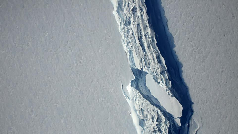This November 10, 2016, image obtained from Nasa shows the Antarctic Peninsula's rift in the Larsen C ice shelf from Nasa's IceBridge mission Digital Mapping System.