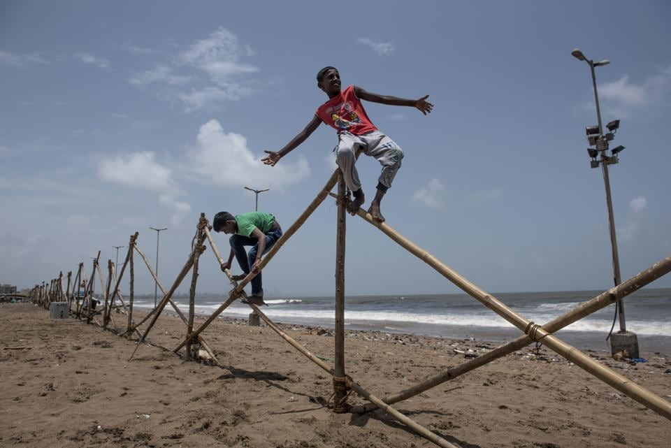 Barricades were put up to mark the areas that will be developed at Versova beach.