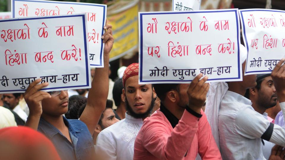 Muslims under the banner of JMM Minority cell in a silent demonstration in protest of  therecent lynching of a Muslim men in Ramgarh outside Governor house in Ranchi, on July 7, 2017.