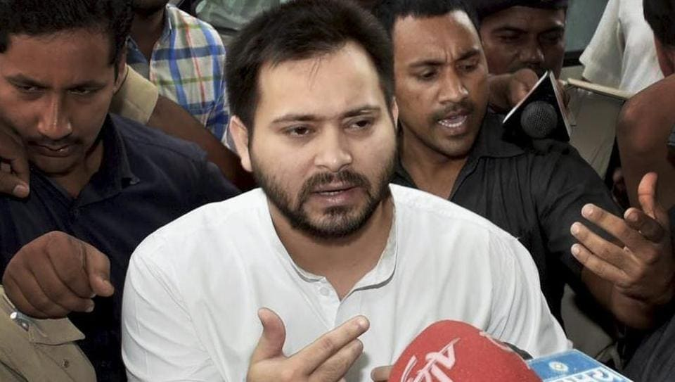 Bihar deputy chief ministerTejashwi Yadav talks to the media at the old secretariat before the cabinet meeting in Patna on Wednesday.