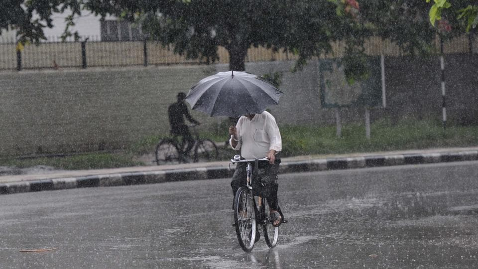 Monsoon have finally arrived in Chandigarh, as resident woke up to pleasant rain on Wednesday morning.  (Keshav Sharma/HT Photo)