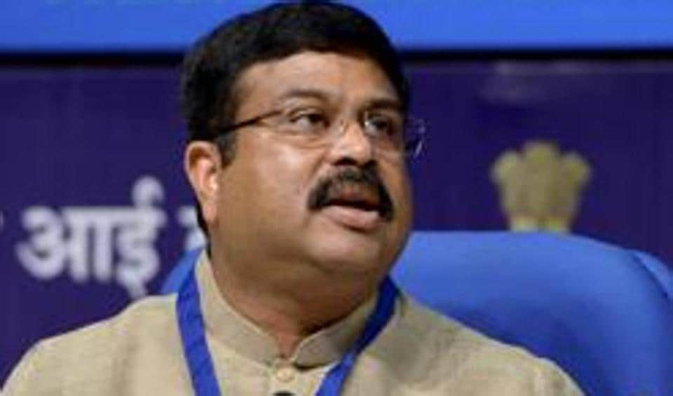 Petroleum Minister Dharmendra Pradhan addressing a press conference in New Delhi.