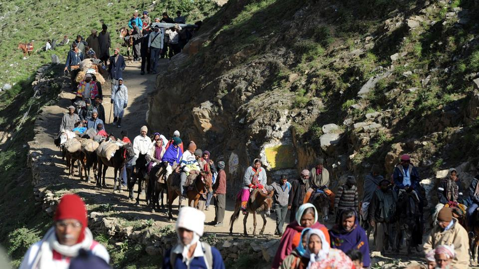 Pilgrims begin their journey from Baltal base camp to the Amarnath cave shrine. Seven people were killed when terrorists attacked a bus carrying pilgrims on Monday night in Jammu and Kashmir's Anantnag district.