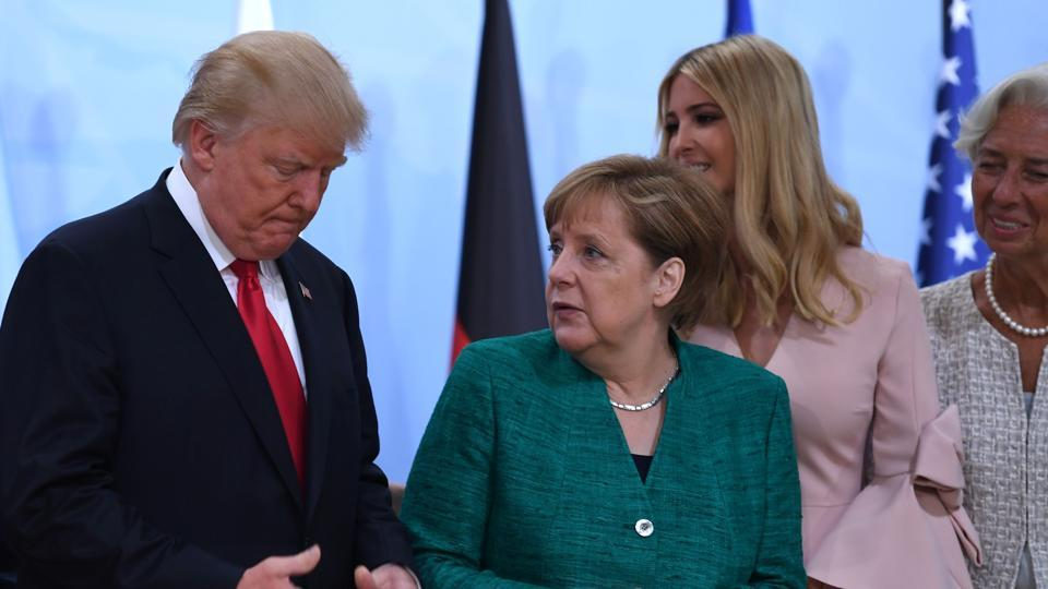 (L to R): US President Donald Trump, German Chancellor Angela Merkel, the daughter of the US President Ivanka Trump, managing director of the International Monetary Fund Christine Lagarde at a function at the G20 Summit, Hamburg, Germany, July 8