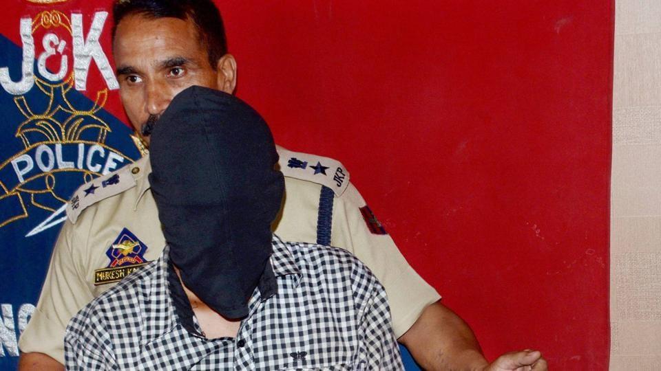 Police arrested Lashkar-e-Taiba militant Sandeep Kumar Sharma, resident of Uttar Pradesh, from the same house where LeT commander Bashir Lashkari was killed on July 1, in Srinagar on July 10, 2017.
