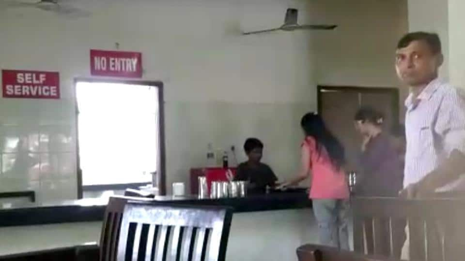 A grab from a video clip showing the boy working at a canteen on the GADVASU campus in Ludhiana.