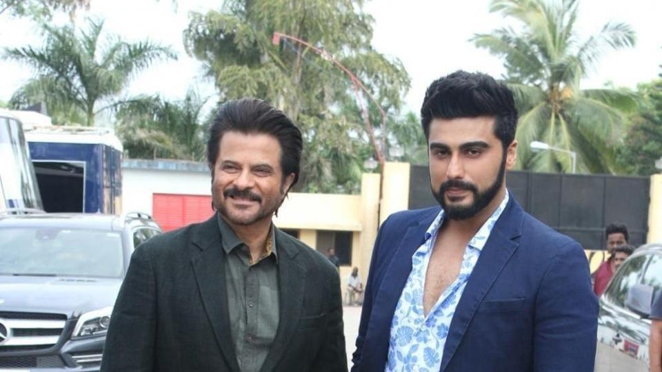 Anil Kapoor and Arjun Kapoor during the promotion of film Mubarakan.