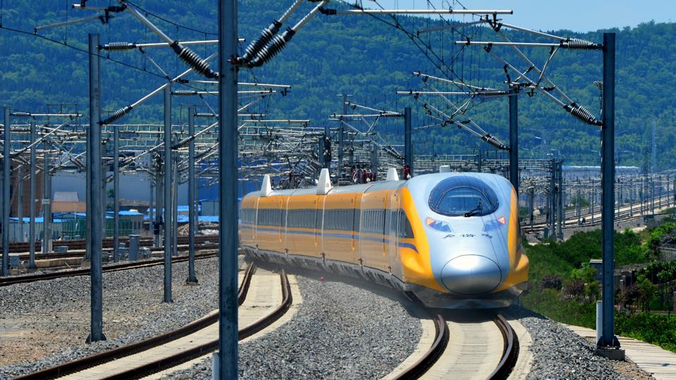 A high-speed bullet train linking Baoji and Lanzhou is pictured during a test run in Shaanxi province, China.