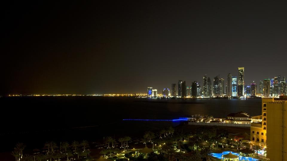 In this Tuesday, March 5, 2013 file photo, the skyline of Doha, Qatar is seen at night from the St. Regis Hotel. Saudi Arabia and three Arab countries severed ties to Qatar on Monday, June 5, 2017.