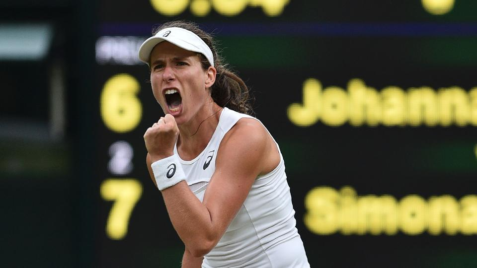 Johanna Konta won in three sets against Simona Halep to book her place in the semi-finals. (AFP)