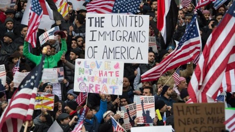 Representative Image |People rally with flags at Brooklyn Borough Hall as Yemeni bodega and grocery-stores shut down to protest US President Donald Trump's Executive Order banning immigrants and refugees from seven Muslim-majority countries.