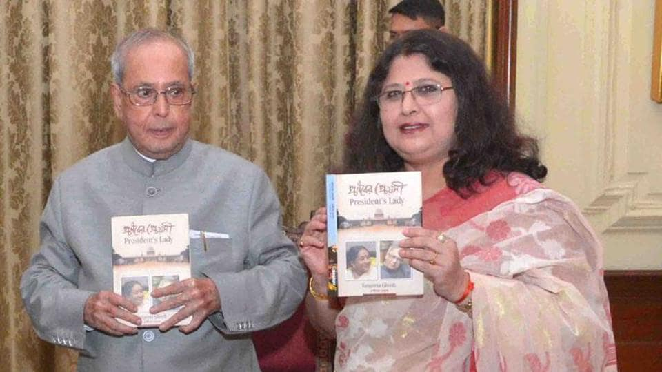 President Pranab Mukherjee receives  the first copy of the 'President's Lady (Pranaber Preyosi)' authored by Sangeeta Ghosh, at Rashtrapati Bhavan, in New Delhi on July 13.
