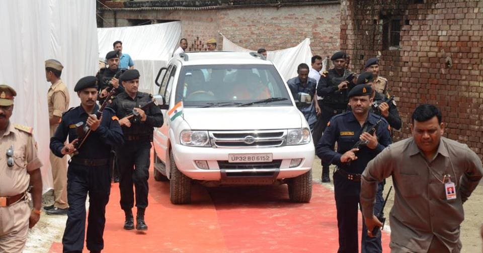 A red carpet was rolled out  to cover a mud road when Uttar Pradesh Chief minister Yogi Adityanath went to meet slain CRPF sub¬inspector Sahab Shukla's kin at his house in Majhgawa village, Gorakhpur on Saturday.