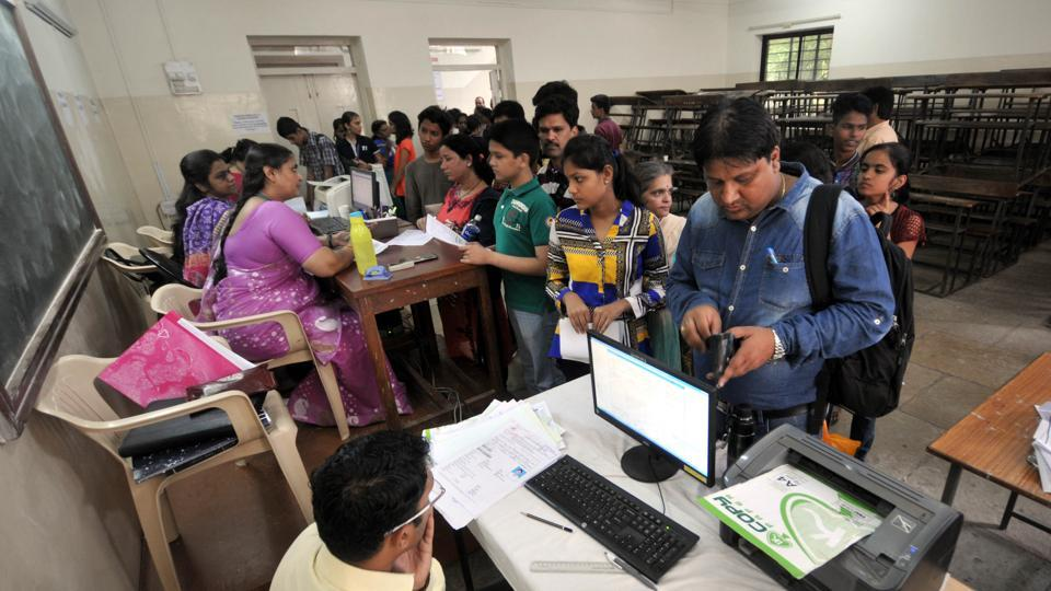 FYJC students line up for their admission at a junior college in Pune