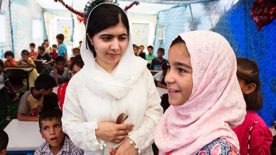 Malala on her 'Girl Power Trip' spends her birthday with the girls forced out of school during the violence in Mosul and other towns.