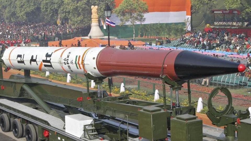 The Agni 4 missile on display for the Republic Day parade in New Delhi.