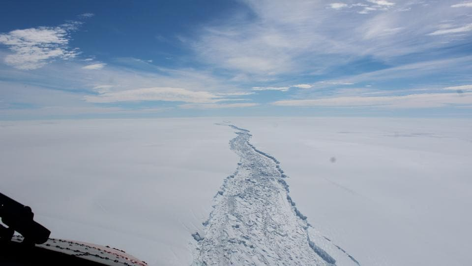 This is a Feb. 2017 image of the Larsen C ice shelf in Antarctica made available by the Antarctic Survey on Wednesday July 12, 2017. A vast iceberg with twice the volume of Lake Erie has broken off from a key floating ice shelf in Antarctica, scientists said Wednesday. The iceberg broke off from the Larsen C ice shelf, scientists at the University of Swansea in Britain said. The iceberg, which is likely to be named A68, is described as weighing 1 trillion tons.