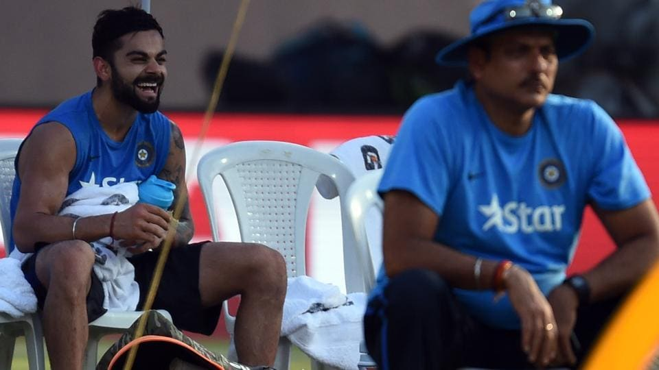India captain Virat Kohli and newly-appointed head coach Ravi Shastri during a practice session at Wankhede Stadium in Mumbai on March 30, 2106. Shastri will take charge of the Indian cricket team from the upcoming series against Sri Lanka starting July 26.