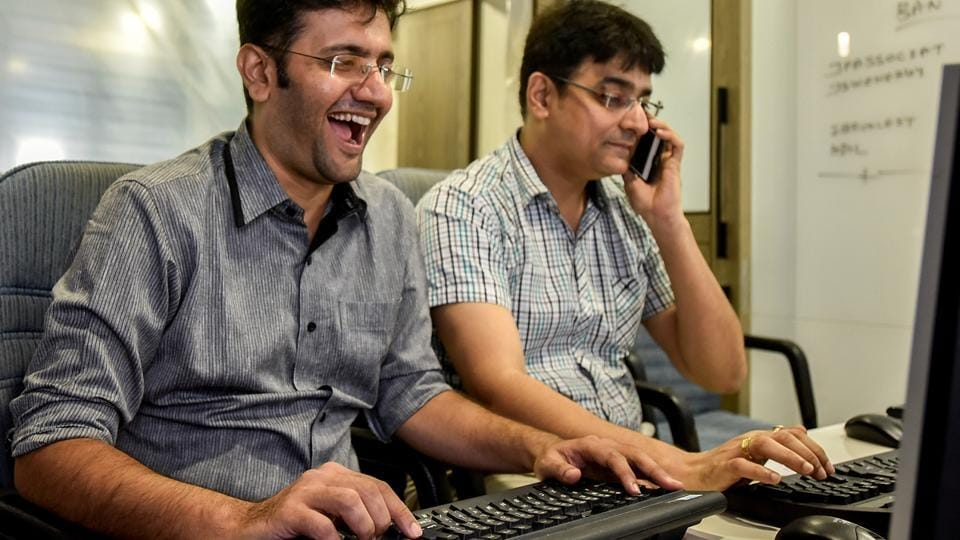 A stockbroker can't help but rejoice. (Kunal Patil/HT Photo)