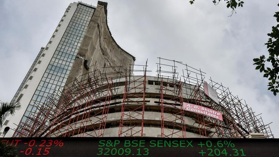 It's a record! India's main stock indexes closed at record highs for a fourth straight session, with the BSE index ending above 32,000 for the first time, as consumer inflation rate eased to its lowest in five years, on Thursday. (Kunal Patil/HT Photo)