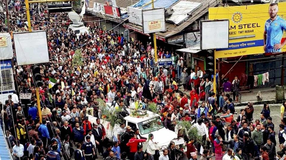GJM supporters participate in a funeral procession of Ashok Tamang during a strike in Darjeeling.