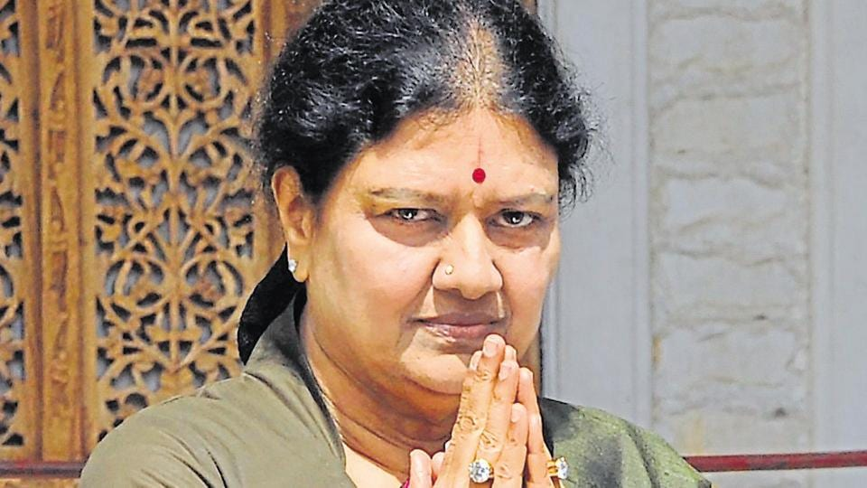 VK Sasikala at the AIADMK headquarters in Chennai in December, 2016. The AIADMK general secretary  has been behind the bars since February 15 in a disproportionate assets case.